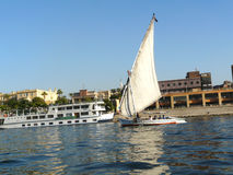 Sailing boat on the Nile river Royalty Free Stock Images