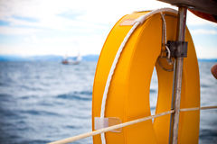 Sailing. On a boat in the ocean Royalty Free Stock Photo