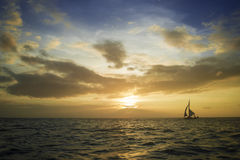 Sailing boat. Offshore mooring a beautiful sailing royalty free stock image