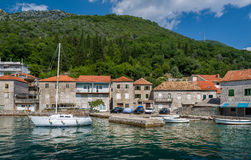 Sailing boat in the old mediterranean village Royalty Free Stock Photo