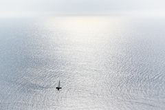 Sailing boat at an open sea. Palma de Mallorca, Spain. Place of vacations Stock Images