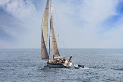 Sailing boat. In open waters Stock Image