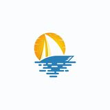 Sailing Boat. Original logo concept Royalty Free Stock Photos