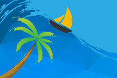 Sailing boat and palm on the water Royalty Free Stock Photography