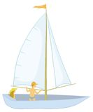 Sailing boat with a people. Sailing boat with a man and a woman, isolated on white. Vector illustration Stock Images