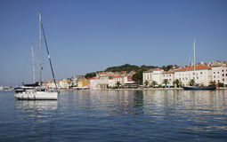 Sailing boat in port. Sailing boat in mediterranean touristic port Royalty Free Stock Images