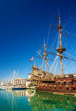 Sailing boat at the port of Genoa Stock Photo