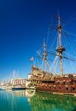 Sailing boat at the port of Genoa. Italy stock photo