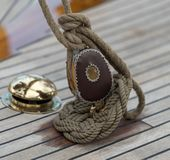 Pulley and rope on old sailing ship stock image