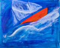 Sailing boat racing painting by Kay Gale. Sailing boat racing on the high seas painting by Kay Gale stock photo