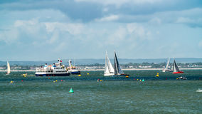 Sailing boat in a regatta in the Isle of Wight Royalty Free Stock Photo