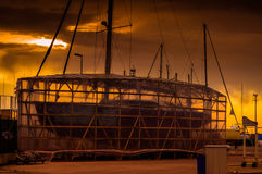 Sailing Boat Restoration Site On Docks Royalty Free Stock Image