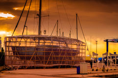 Sailing Boat Restoration Site On Docks Stock Photos