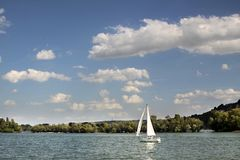 Sailing boat on the Rhine Stock Photos