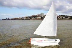 Sailing boat at the river stock photo