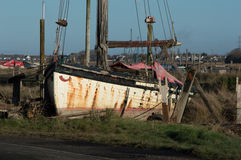 Sailing boat on the riverbank by the River Wyre Stock Photo