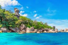Sailing Boat Rock travel background. Royalty Free Stock Image