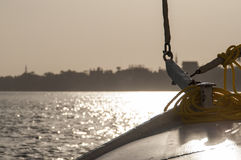 Sailing boat with a roman sail Stock Images