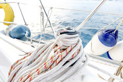 Sailing boat ropes on a winch Royalty Free Stock Image
