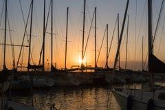 Sailing Boat`s Masts: Dock Seaside royalty free stock photography