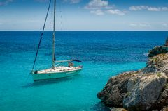 Sailing boat. Sail boat at anchor in Mediterranean sea coast. Mallorca island, Spain Stock Photo