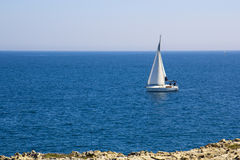 Sailing boat, sailing in Mediterranean. Sailboat sailing in the calm waters of the Adriatic Sea Royalty Free Stock Photo