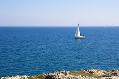 Sailing boat, sailing in Mediterranean. Sailboat sailing in the calm waters of the Adriatic Sea Royalty Free Stock Photography