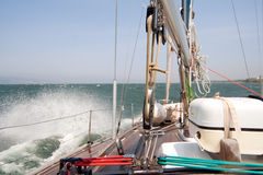 Sailing boat sailing in the stormy sea Royalty Free Stock Photography
