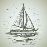 Sailing boat scene vector sketch royalty free stock image