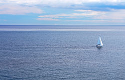 Sailing boat on the sea stock photography