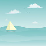 Sailing Boat on the Sea with Blue Sky and Clouds Illustration. Royalty Free Stock Photography
