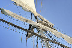 Sailing boat in the sea, blue sky Royalty Free Stock Images