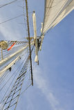 Sailing boat in the sea, blue sky Stock Photos