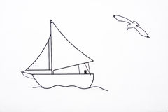 Sailing Boat and Sea Gull on White Background Stock Photo