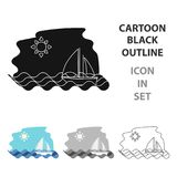 Sailing boat on the sea icon in cartoon style isolated on white background. Greece symbol stock vector illustration. Stock Photos