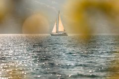 Sailing boat on the sea. Sailing boat on the Adriatic sea stock photo