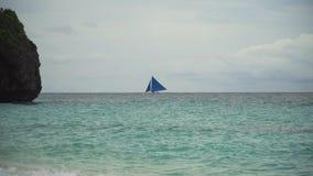 Sailing boat in blue sea. Boracay island Philippines. Royalty Free Stock Image