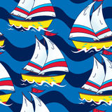 Sailing boat on the sea seamless pattern Royalty Free Stock Images