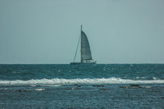 Sailing boat on sea. Serene scene landscape. Horizontal photograph. Sorento, Italy Stock Images