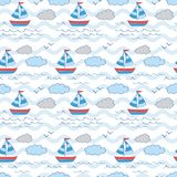 Sailing boat at the sea with wave and cloud royalty free illustration