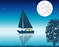 Sailing boat seaborne in the night Stock Photos