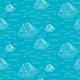Sailing boat seamless outline vector pattern in doodle style. Stock Photos
