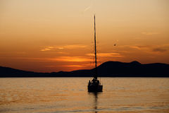Sailing boat silhouette Stock Photography