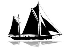 Sailing Boat silhouette. Detailed sailing boat silhouette with lower reflection Royalty Free Stock Photo