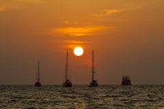 Sailing boat silhouette Stock Image