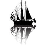 Sailing boat sketch. Sailing boat silhouette view from a side Royalty Free Stock Images