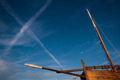 Sailing boat sky trails Stock Photography