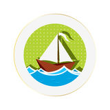 Sailing boat sticker Royalty Free Stock Images