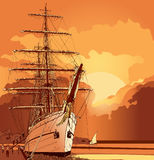 Sailing boat at sunset Royalty Free Stock Photography