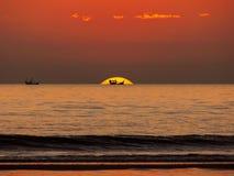 Sailing boat sunset stock photography
